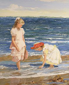 A May Morning by Sally Swatland - 32 x 26 inches Signed impressionist beach scenes children playing contemporary american chase pothast