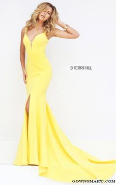 Yellow Sherri Hill 50125 V Neck Fitted Prom Dress