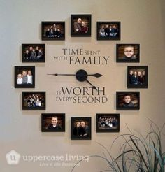 Time Spent With Family Clock Giveaway is part of diy-home-decor - I am giving away one of these beautiful Picture Frame Clocks from Uppercase Living Enter the giveaway and be sure to share with your friends Family Clock, Family Wall Decor, Living Room Decor, Bedroom Decor, Family Tree Wall, Family Family, Family Room, Family Picture Walls, Living Room Ideas