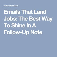 Follow Up After A Job Interview With This Email Resume Pinterest