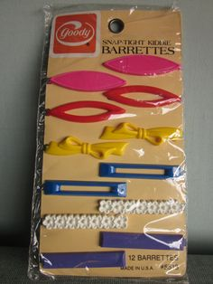 Vintage Goody Barrettes Plastic Children S Hair Clips New Old Stock 1982