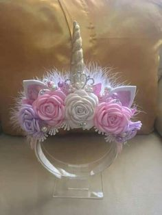 This Unicorn headband unicorn flower crown unicorn headpiece is just one of the custom, handmade pieces you'll find in our hair accessories shops. Unicorn Headpiece, Unicorn Headband, Unicorn Hair, Unicorn Outfit, Unicorn Costume, Unicorn Birthday Parties, Girl Birthday, Diy And Crafts, Crafts For Kids