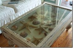 Shadow Box Table - Features & Properties : Antique Shadow Box End Table. Antique shadow box end table. Seashell Shadow Boxes, Shadow Box Coffee Table, Seashell Display, Ideias Diy, Beach House Decor, Home Decor, Coastal Decor, Seaside Decor, Beach Themes