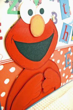 Sesame Street character ELMO drawn and paper pieced