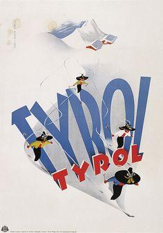 Tyrol in Austria ski vintage poster Vintage Ski Posters, Retro Poster, A4 Poster, Retro Ads, Poster Wall, Artist Canvas, Canvas Art, Theme Sport, Westerns