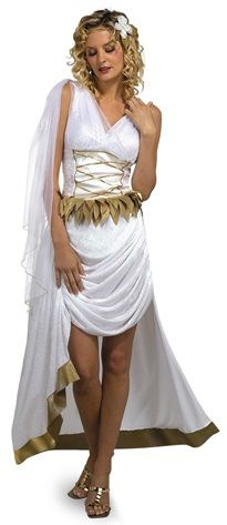 Roman Venus Goddess of Beauty Costume - Calgary, Alberta. Wear this Venus Goddess costume for Halloween, with other Greek or Roman mythical creatures or a toga party.  This is a Roman Goddess Venus costume.  This two-piece Roman Goddess Venus costume comes with a dress and headband. The dress is soft velveteen with a soft mesh covering and gold accents. The dress is sleeveless with an attached mesh scarf that drapes down the right shoulder. Gold trim adorns the mesh scarf.