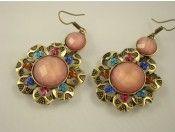 Pink Crystal & Brass Earrings