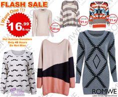 Super venda relâmpago #Romwe - 48 horas! Com preços apartir de $16,99. Não perca!  Super slim price flash sale! Only 48 hours! Hot items back season! $16.99 up! Don't miss, girls!