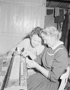 Immigration - Migrants in employment in Australia - The family income is supplemented by Mrs Woods who operates a home-knitting machine. She supplies local shops with her woollen products. Here she explains how the machine works to her daughter Joan, 17, who plans to become a nurse at the Brisbane General Hospital
