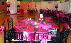 40th Birthday Party. Coordinating the Balloons, Linens, Chairs and a Bling Table Scape is What Diva Style is All About!