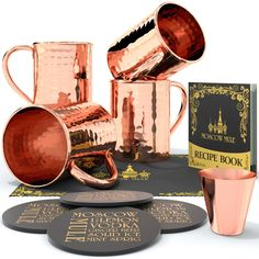 Krown Kitchen - Hammered Moscow Mule Copper Mugs Set of 4 | 16 oz https://worldofarcadian.com/products/round-stubborn-moscow-mule-copper-mug-16-oz