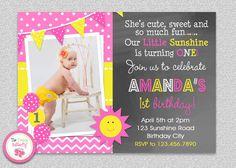 Sunshine Birthday Invitation , You are my Sunshine Birthday Party Invitation