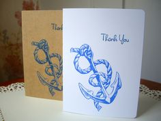 anchor thank you card, nautical thank you cards, anchor stationery, nautical stationery, anchor note cards, nautical note cards,hostess gift by JDooreCreations on Etsy