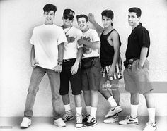 Photo of NEW KIDS ON THE BLOCK and Jordan KNIGHT and Joey McINTYRE and Jonathan KNIGHT and Donnie WAHLBERG and Danny WOOD; Posed group portrait L-R Jordan Knight, Donnie Wahlberg, Joey McIntyre, Jonathan Knight and Danny Wood