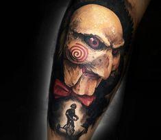 Black and red realistic tattoo style of Saw movie motive done by artist Adrian Ciercoles Forarm Tattoos, Leg Tattoos, Body Art Tattoos, Tattoo Drawings, Sleeve Tattoos, Clown Tattoo, Scary Tattoos, Jigsaw Tattoo, Skin Drawing