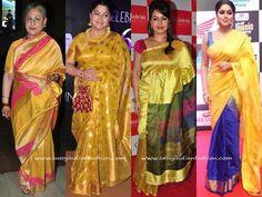 Celebrity in Yellow Silk Sarees