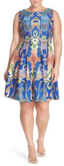 d7200500d8 Gabby Skye Print Sleeveless Scuba Fit   Flare Dress (Plus Size)