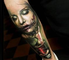 Realistic Horror Tattoo by Sam Barber Tattoo | Tattoo No. 13211