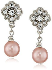 Simulated Pearl and Crystal Drop Earrings by 1928 Jewelry Available at joyfulcrown.com