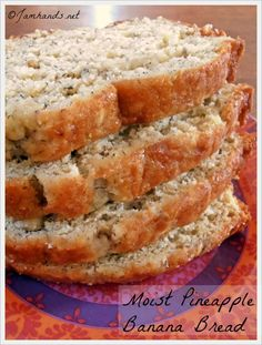 Moist Pineapple Banana Bread Makes one loaf       1/2 cup butter, softened     1 cup sugar     2 eggs     1/2 cup mashed ripe banana     1/3 cup drained crushed pineapple     1/2 cup flaked coconut     2 cups all-purpose flour     1 teaspoon baking powder     1/2 teaspoon baking soda     1/2 teaspoon salt   ...