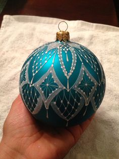 ~ Large Hand Painted Lace & Turquoise Christmas Ornament ~