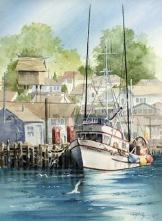 MORRO BAY FISHING Boat Watercolor Painting Art by k9artgallery, $12.50