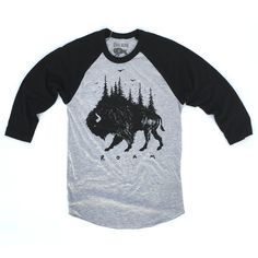 Image of Raglan Shirt - Bison Pines (Heather Grey/Black)