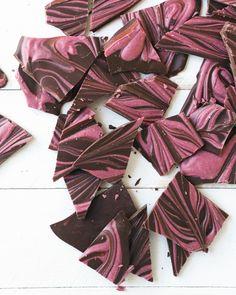 All Natural Pink Chocolate Swirled Bark