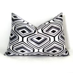 SALE  Black White Pillow Cover  Gray Decorative by SewSampleShop