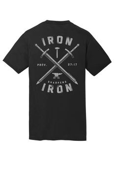 Dri-fit Athletic Shirts Our IronDri-fit AthleticTShirt isbuilt to provide a comfortable, functional shirt for physical activity, while sporting an encouraging, Scripture-inspired design:Iron sharpens iron! Each shirt's hang tag is customized with scripture relevant to the shirt's message!  This shirt is made with Dry Zone® Moisture Wicking Technology, and is 100% Polyester. Available in Small, Medium, Large, X-Large, and 2X-Large. ©2016 Slingshot Publishing