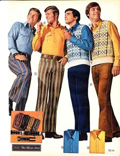 (Carina Anger) 1971- Mens fashion started to reveal the flamboyant styles of recent years, embracing a sense of fun and freedom. Clothes were fit snug, tailored, and double knit. Plain was a popular day style for the office or on the farm and pants remained flared.