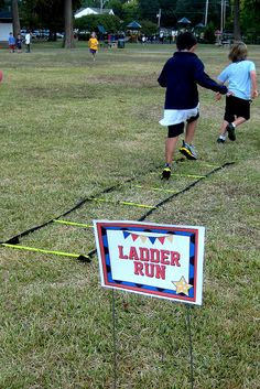 Easy Obstacle course...but I like the idea of the signs so you don't have to repeat yourself the entire time!