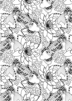 Adult Coloring: Wonderful Koi Fish Pond Pattern ......Free Download #AdultColouting #Zentangle