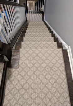 """Wool carpet transformation Over 30 stairs with wool style """"Tiburon"""", self-installed in less than 45 minutes. Our carpet s Carpet Stair Treads, Carpet Stairs, Carpet Flooring, Shag Carpet, Wool Carpet, Rugs On Carpet, Best Carpet, Magic Carpet, Home Design"""