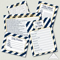 Navy and Gold Baby Shower Games Printable Shower by SOSPrintables