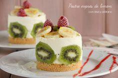 dolce al limone con kiwi e banana - MisThermorecetas Just Desserts, Delicious Desserts, Dessert Recipes, Yummy Food, Tasty, Kiwi Recipes, Sweet Recipes, Tumblr Food, Salty Foods