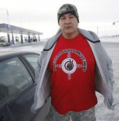 Kylo Prince was one of the first of the protesters to gather at the Red Sun Gas Bar outside Winnipeg demonstration on the CN tracks west of Portage la Prairie.