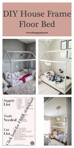 DIY House Frame Floor Bed Plan - D.I.Y -HOUSE-FRAME-FLOOR-BED-PLANS- Montessori…