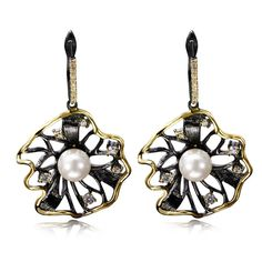 Fashion Earrings 2016 Flower shape Big Black Earrings For Women Contrast Gold Plated Cubic Zircon Setting