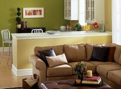Green living room (looks great with gold)Dutch Boy   The Palette - Your Shopping List   •Submarine   •Wells Beach   •Trailblazer