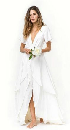 Boho Deep V Flowy Beach Wedding Dress