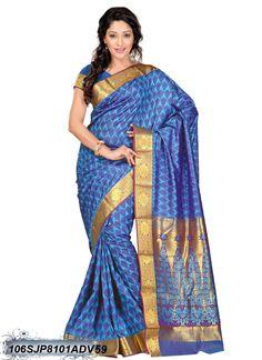 #Blue,#Violet,#Golden #Kanchipuram #Silk #Saree #nikvik  #usa #designer #australia #canada #freeshipping #Kanjeevaram #Kanjeevaramsarees