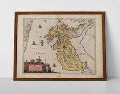 a historic regional map of Argyle, originally created by Willem Janszoon Blaeu, now available as a 'museum quality' wall decor print. Antique Maps, Antique Prints, Historical Maps, Travel Posters, Giclee Print, Vintage World Maps, Handmade Items, Wall Decor, Museum