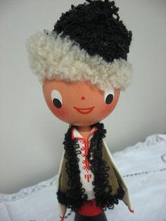 Wooden Male Man Doll in Costume Eastern Europe by mychildhooddolls