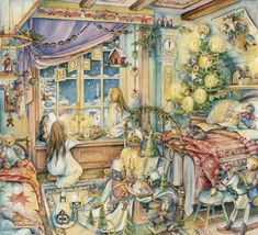 The world of comfort and goodness, created by artist Kim Jacobs. Part Discussion on LiveInternet - Russian Service Online Diaries Christmas Card Pictures, Christmas Art, Vintage Christmas, Xmas, Christmas Windows, Christmas Houses, Christmas Glitter, Christmas Night, Magical Christmas