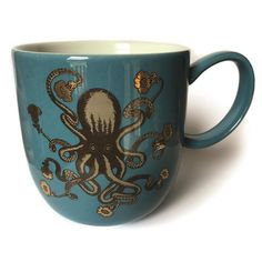Charming and whimsical, this Avenida Home Puddin'head Octopus Mug was designed by artist Richard McAdam. Featuring an octopus with gold print flowers blooming from its tentacles, this playful and beautiful hand glazed porcelain mug is ideal for adding unique and distinctive style to your home and would make a lovely gift idea. Mix and match with other Puddin'head mugs, coasters and placemats to make an unusual set.</p>
