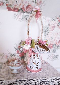 shabby chic basket wicker lace roses basket by TheGirlyCottage, $32.00