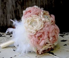 Fabric flower bouquet with brooches . Champagne, dusty rose pink, ivory with pearls, rhinestones and feathers