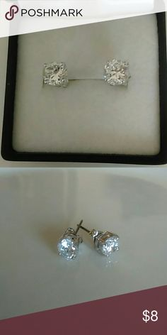 Stainless Steel Cubic Zirconia Stud Earrings Stainless steel cubic Zirconia stud earrings. New without tags. Comes with gift box. Jewelry Earrings