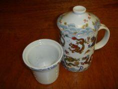 Ceramic Tea Mug Dragon Scene w/ Ceramic Strainer